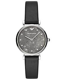 Women's Black Leather Strap Watch 32mm