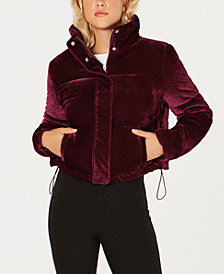 Jou Jou Juniors' Cropped Velvet Puffer Coat