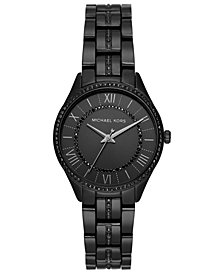 Michael Kors Women's Mini Lauryn Black-Tone Crystal Accent Stainless Steel Bracelet Watch 33mm