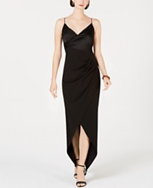Adrianna Papell Asymmetrical Faux-Wrap Gown