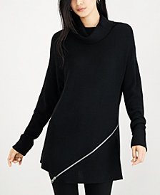 Bar III Zipper-Trim Turtleneck Sweater, Created for Macy's