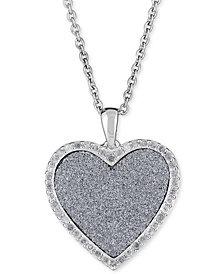 "Diamond Glitter Heart 18"" Pendant Necklace (1/4 ct. t.w.) in Sterling Silver"