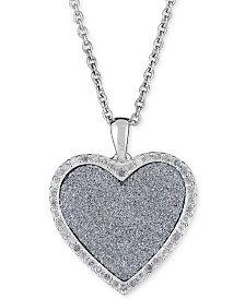 "Diamond Glitter Heart 18"" Pendant Necklace (1/4 ct. t.w.) in Sterling Silver"
