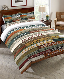 Laural Home Cabin Rules Twin Comforter