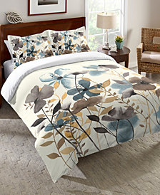 Laural Home Greige Florals Twin Comforter