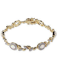 Opal-Look Stone & Diamond Accent Link Bracelet in 18k Gold-Plated Bronze