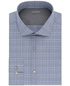 Calvin Klein X Men's Extra-Slim Fit Temperature Regulating Stretch Blue Plaid Dress Shirt