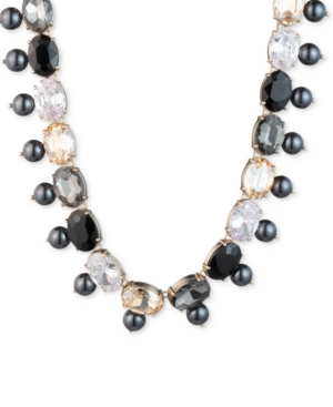 """Carolee GOLD-TONE STONE, IMITATION & FRESHWATER PEARL (5-10MM) 18"""" COLLAR NECKLACE"""