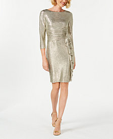 Jessica Howard Metallic Ruffle-Front Sheath Dress