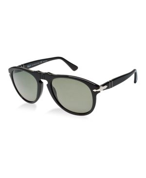 PERSOL Po6649S Aviator Sunglasses in Black/Green