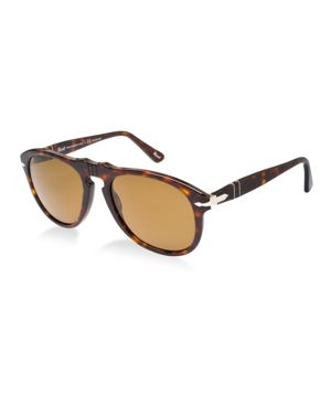 PERSOL Unisex Aviator Plastic Sunglasses in Brown/Brown
