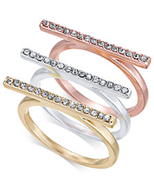 I.N.C. Tri-Tone 3-Pc. Set Crystal Bar Ring, Created for Macy's