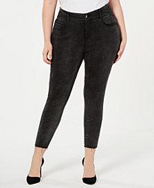 YSJ Plus Size Star Skinny Ankle Jeans