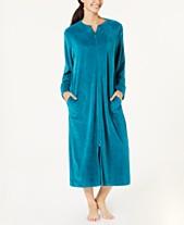 Miss Elaine Petite Velvet Fleece Long Zipper Robe 2495702b35