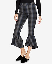 RACHEL Rachel Roy Ruffled Plaid Pants, Created for Macy's