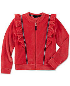 Tommy Hilfiger Big Girls Ruffle-Trim Velour Track Jacket