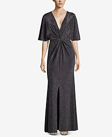 Betsy & Adam Metallic Twist-Front Slit Gown