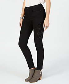 Style & Co Petite Floral Appliqué Curvy Skinny Jeans, Created for Macy's