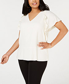 MICHAEL Michael Kors Plus Size Ruffled Top