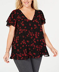 MICHAEL Michael Kors Plus Size Printed Double-Flutter Sleeve Top