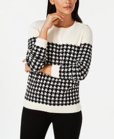 Charter Club Plaid Houndstooth Sweater, Created for Macy's