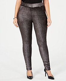 MICHAEL Michael Kors Plus Size Foil-Print Pull-On Pants