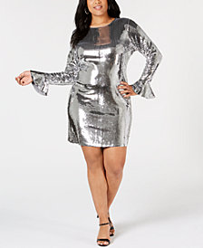 MICHAEL Michael Kors Plus Size Sequin Flare-Sleeve Bodycon Dress