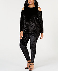 MICHAEL Michael Kors Plus Size Crushed Velvet Cold-Shoulder Top & Velvet Leggings