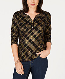 Karen Scott Metallic-Plaid Henley Top, Created for Macy's