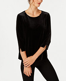 Charter Club Petite 3/4-Sleeve Velvet Top, Created for Macy's