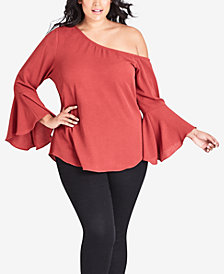 City Chic Plus Size Free Love One-Shoulder Top