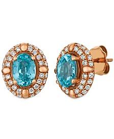Blue Zircon (2 5/8 ct.t.w.) and Nude Diamonds™ (1 ct.t.w.) Earrings set in 14k rose gold