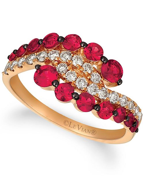 Le Vian Milestone Passion Ruby™ (1 1/8 cttw) and Nude Diamonds™ (3/8 cttw)  Ring set in 14k rose gold