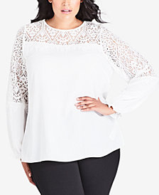 City Chic Trendy Plus Size Lace-Yoked Top