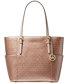MICHAEL Michael Kors Metallic Signature Jet Set Travel Tote