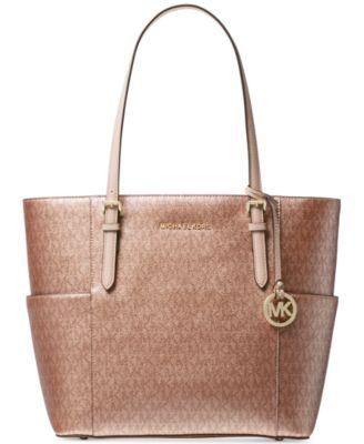michael kors metallic signature jet set travel tote handbags rh macys com