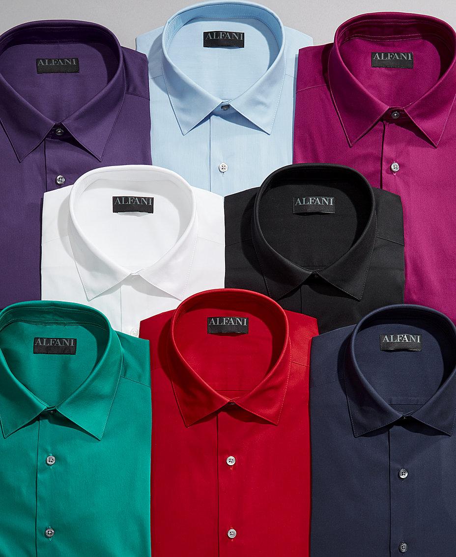 Alfani Alfatech By Mens Solid Classicregular Fit Dress Shirt