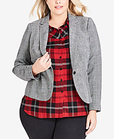 City Chic Trendy Plus Size Classic Plaid Blazer
