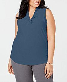 Anne Klein Plus Size Gathered V-Neck Shell