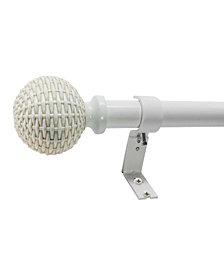 Decopolitan 1-Inch Woven Ball Telescoping Curtain Rod Set, 72-144 Inches, Driftwood