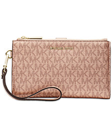 MICHAEL Michael Kors Boxed Metallic Signature Double-Zip Wristlet