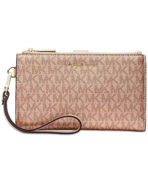 9fe9b47754f3 Michael Kors Boxed Metallic Signature Double-Zip Wristlet & Reviews ...