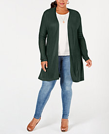 Belldini Plus Size Pointelle Duster Cardigan