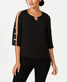 JM Collection Petite Embellished Lattice-Sleeve Top, Created for Macy's
