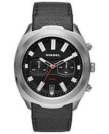 Men's Chronograph Tumbler Black Leather Strap Watch 48mm