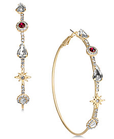 Thalia Sodi Gold-Tone Stone & Crystal Hoop Earrings, Created for Macy's