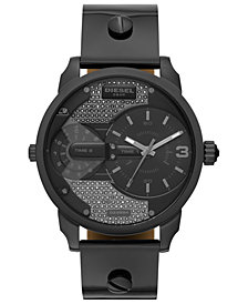 Diesel Women's Mini Daddy Gunmetal Leather Strap Watch 46mm