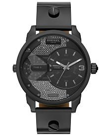 Diesel Women's Mini Daddy Gunmetal Leather Strap Watch 46mm