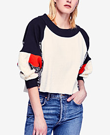Free People Josie Printed Mixed-Knit Top