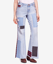 Free People Mixed Patchwork Cotton Slim Flare Jeans
